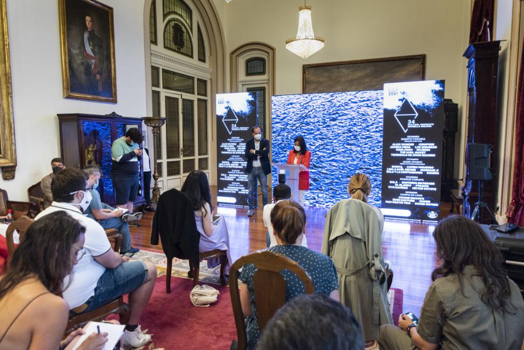 Inés Rey, alcaldesa da Coruña, Antonio Viejo, director de Asuntos Corporativos de Corporación Hijos de Rivera na presentación da 34 edidición do Festival Noroeste Estrella Galicia 2021